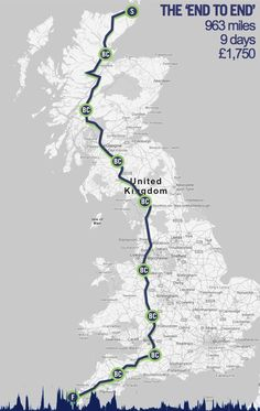 Route of ride across Britain. 9 days?...take as much time as you like if you want to see a country...