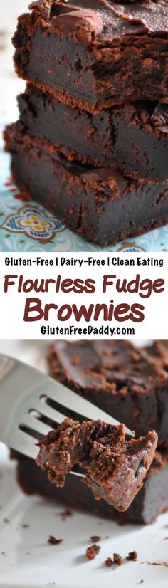 These gluten-free flourless brownies are a rich dense and decadent chocolate treat. But I love that they are made from chickpeas and cashews so they are full of fiber healthy fats and protein! Gluten Free Baking, Gluten Free Desserts, Dairy Free Recipes, Vegan Desserts, Dessert Recipes, Cake Recipes, Dessert Ideas, Dairy Free Chocolate Cake, Chocolate Fudge Brownies