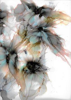 Flower wall art, printable wall art, alcohol ink print, alcohol ink art by BloomnJazz (Etsy) Alcohol Ink Crafts, Alcohol Ink Painting, Alcohol Ink Art, Watercolor Flowers, Watercolor Art, Art Mural Floral, Arte Floral, Flower Art, Art Flowers
