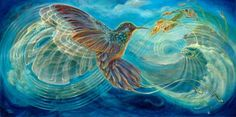 Visionary art Giclee Print featuring Colibri by Martina Hoffmann. Available on canvas or paper. Archangel Uriel, Moon In Aquarius, Aquarius Men, Scorpio, Animal Medicine, Spirited Art, Goddess Art, Visionary Art, Psychedelic Art