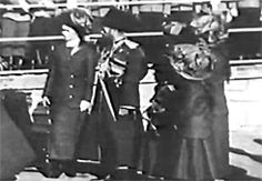 """olga-romanov: """" Rare footage of Grand Duchesses Olga, Tatiana, Maria, and Anastasia wearing the same dresses as the photo above (possibly same day), with Nicky. In the top right gif you can see Nicky..."""