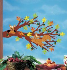 Fensterbild Bastelvorlage Herbstzweig Mehr