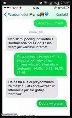 Funny Sms, Funny Text Messages, Wtf Funny, Funny Texts, Polish Memes, Funny Conversations, Text Memes, Good Jokes, True Quotes