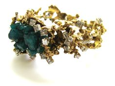 A Brutalist Emerald and Diamond Bracelet, c1970 - Wow! Total Nugget factor!