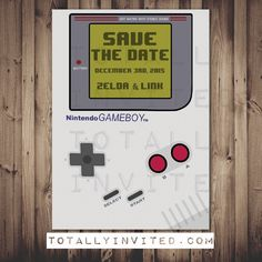 save the date - Gameboy Nintendo video game Invitation / printable invitation / Arcade / geek invitation / wedding invitation game boy
