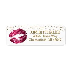 #Golden Confetti & Pink Lips- Address Label - #cosmetologist #gifts #beauty