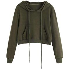 Basic Army Green Cropped Hoodie