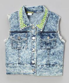 Look at this #zulilyfind! Denim Neon Stud Vest - Girls #zulilyfinds