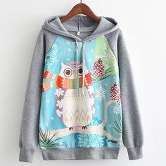 KaiTingu Brand Fashion Autumn Winter Long Sleeve Women Hooded Sweatshirt Harajuku Kawaii Owl Print Hoodies Tracksuit Pullover #Brand #KaiTingu #sweaters #women_clothing #stylish_dresses #style #fashion
