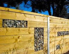 Timber and gabbion Terrace Garden, Garden Walls, Boogie Wonderland, Gabion Baskets, Gabion Wall, Boundary Walls, Media Wall, Unique Gardens, Garden Fencing