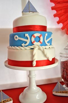 "Nautical cake idea. We can help achieve this look at Dallas Foam with cake dummies, cupcake stands and cakeboards. Just use ""2015pinterest"" as the item code and receive 10% off your first order @ www.dallas-foam.com. Like us on Facebook for more discount offers!"
