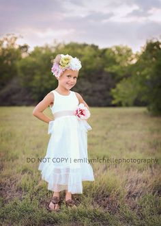 Flower girl halter tutu dress with lace ties. Shabby Chic style ...