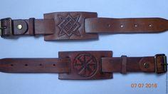 Купить Браслет - коричневый, Браслет ручной работы, славянские символы, славянские обереги, кожа натуральная