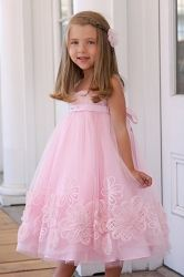 Sweet Pattis Pink Floral Embroidered Tulle Dress