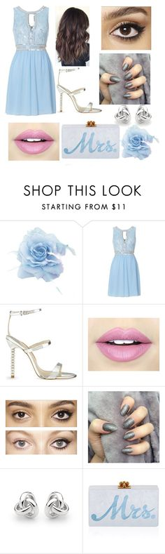 """Something Borrowed, Something Blue"" by tashaafterthedentist ❤ liked on Polyvore featuring moda, TFNC, Sophia Webster, Fiebiger, Charlotte Tilbury, Georgini ve Edie Parker"