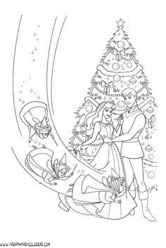 Christmas for Aurora and Stephan Barbie Coloring Pages, Disney Princess Coloring Pages, Disney Princess Colors, Coloring Book Art, Doodle Coloring, Colouring Pages, Adult Coloring Pages, Coloring Pages For Kids, Disney Art