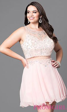 b69ee0ed8cfc3 Mock Two-Piece Plus-Size Short Party Dress