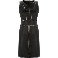 Warehouse Studded Leather Dress (£150) ❤ liked on Polyvore featuring dresses, black, genuine leather dress, black studded dress, studded leather dress, warehouse dresses and kohl dresses