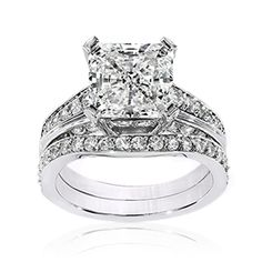 Cubic Zirconia Rings | 3.5 Ct. Princess Cut 14K Wedding Set | R7506W