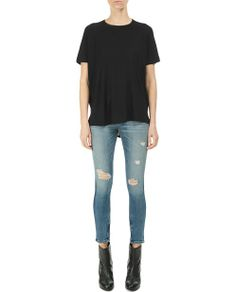 rag & bone Official Store, Camden Raglan Tee - Black, black fl, Womens : Sale : Tops, W242T416J