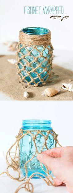 DIY Wrapped Mason Jar - itallstartedwithpaint.com - Tarros decorados con cuerda