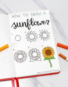 Find a huge list of flower doodle tutorials and step-by-step flower drawing ideas. From rose drawing to simple flower doodles for bullet journals and more. drawing 50 Best Flower Drawing Tutorials To Embellish Your Pages Bullet Journal Aesthetic, Bullet Journal Notebook, Bullet Journal Ideas Pages, Bullet Journal Inspiration, Bullet Journals, August Bullet Journal Cover, Journal List, Easy Flower Drawings, Flower Drawing Tutorials
