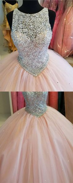 Sparkly Sequins Beaded Keyhole Back Design Blush Pink Tulle Ball Gowns Quinceanera Dresses · cutedressy · Online Store Powered by Storenvy Quinceanera Dresses Blush, Pink Prom Dresses, Trendy Dresses, Homecoming Dresses, Cute Dresses, Beautiful Dresses, Party Dresses, Quinceanera Ideas, Xv Dresses