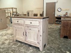 Pictured is our Farmhouse Sideboard and Sideboard/Hutch, 1st picture shown is Sideboard in a Natural Patina Top and Weathered Ivory Base and the