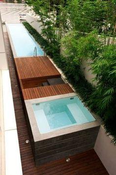 mini pool garten minimalistisch modern badewanne