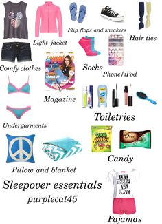 My sleepover essentials! Comment and tell me your favorite things to bring on a sleepover. Follow me for more :)