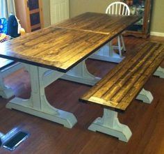 Diy Rustic Table Farmhouse - A farmhouse table is called its own neutral and earthy colors. Normally, rustic farmhouse table has a major size with complete wooden substance at which a lot of them have rectangular shapes. Farmhouse Table With Bench, Rustic Table, Wood Table, Dining Room Table, Farmhouse Decor, Table Bench, Farmhouse Remodel, Trestle Table, White Farmhouse