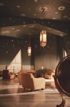 The Aviator - Juan Trippe's office with beautiful starred ceiling.