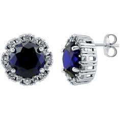 BERRICLE Sterling Silver Round Simulated Blue Sapphire CZ Halo Stud... ($75) ❤ liked on Polyvore featuring jewelry, earrings, joias, accessories, brinco, stud earrings, sapphire, women's accessories, sterling silver jewelry and sterling silver post earrings