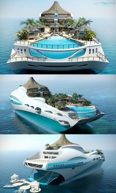 OMGTHISNEEDSTOBEREAL! Am I the only one thinking that the sea levels rising would be okay if we placed all people on floating amazing islands like this stunning (not existing) super boat?!?  We can all live on kelp and shrimps. Only use sun energy, even for the boat engine. No status no class. Have no monetary system. Make our own clothes and be happy. What are you waiting for?! Get building! | SV