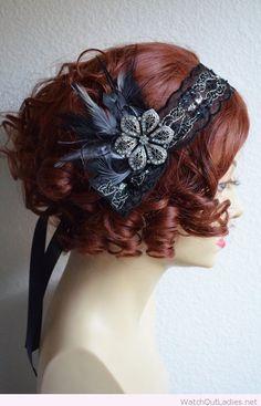Black beaded gatsby headpiece accessory