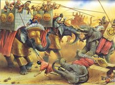 217 BC - During the Wars of the Diadochi at the Battle of Raphia, Ptolemy IV Philopator of Egypt with 70,000 infantry, 5,000 cavalry, and 73 war elephants fought the army of Antiochus III. The Antiochids suffered just under 10,000 foot dead, about 300 horse and 5 elephants; 4,000 men were taken prisoner. The Ptolemaic losses were 1,500 foot, 700 horse and 16 elephants. Most of the Antiochid elephants were taken by the Ptolemies.