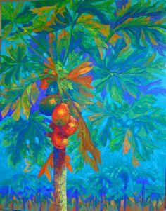 "ARt. TANIA CAMARA. ""PAPAYAS"". ACRILICO SOBRE TELA. 1.50 X 1. 80 MTRS.2014"