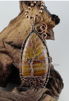Tree of Life with Jasper Cabochon in Antiqued Copper