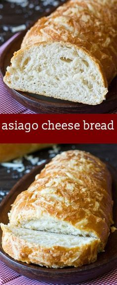 A crispy crust, soft inside with an awesome Asiago cheese f… Asiago Cheese Bread. A crispy crust, soft inside with an awesome Asiago cheese flavor. So good with soup, salad, or on a sandwich. via Tastes of Lizzy T Savory Bread Recipe, Yeast Bread Recipes, Bread Machine Recipes, Cheese Recipes, Cooking Recipes, Bread With Cheese, Chicken Recipes, Cheese Food, Gourmet