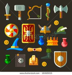 Game weapon icons flat set. Weapons, shields, magic, scrolls. - stock vector