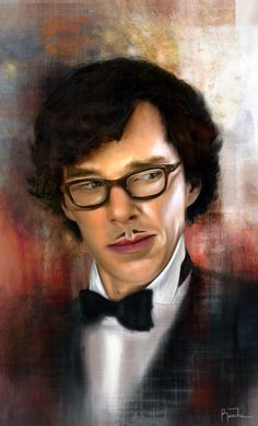 "Sherlock fan art (every time I see Sherlock's mustache I'm going to think, ""Does yours wipe off, too?"")"