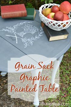 Grain sack graphic painted table using Americana Chalky Finish paints and Ultra Matte varnish with graphics using transfer method. Simple DIY project. - www.H2OBungalow.com #chalkyfinish #decoartprojects @decoart @michaelsstores @homedepot @hobbylobby