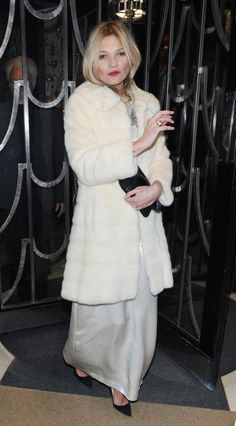 Love this look on Kate Moss... A white furry coat is a must.
