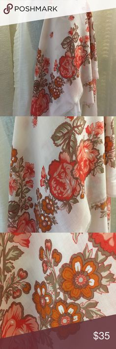"Vintage Large Shawl Scarf Roses Beautifully designed scarf with vintage styled roses  Soft peach background with brighter orange roses Measures 45"" square   Acrylic scarf  Made in Japan   Too Cool!   Price is Firm. Vintage Accessories Scarves & Wraps"