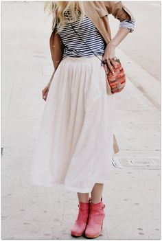 Trench + stripes + midi skirt + crossbody bag.  And don't forget the red boots.