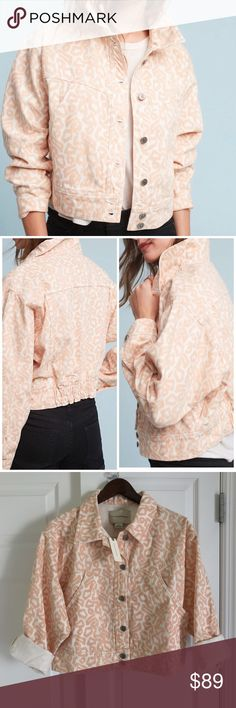 "Anthropologie Jacket - Small The classic trucker silhouette gets a warm weather update in this spring-ready print. An Anthropologie-exclusive from Pilcro. Cotton Slant pockets Button front 21.25""L Anthropologie Jackets & Coats"