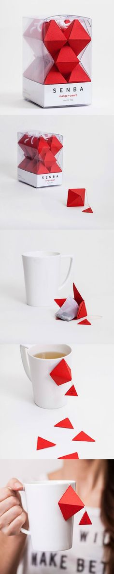 Senba origami tea design by Seita Goto. Clever Packaging, Tea Packaging, Pretty Packaging, Brand Packaging, Plastic Packaging, Design Packaging, Tea Design, Label Design, Branding Design