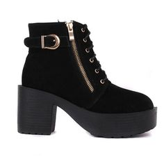 Black Zipper Thcik Heel Ankle Short Boots Decoration With Buckle