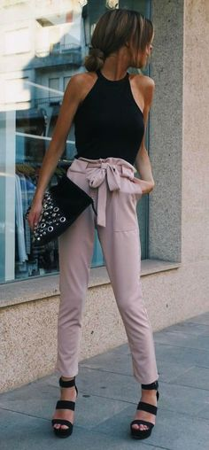 casual style perfection: top + bag + pants + heels