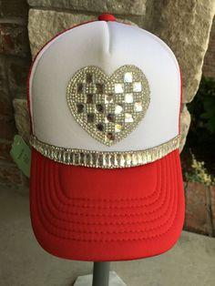 67efdfd3ded Items similar to Women s red foam front Trucker Hat. Baseball Hat. women s  hat. Rhinestone appliqué. Heart appliqué. Hat. Snap back. bling. on Etsy